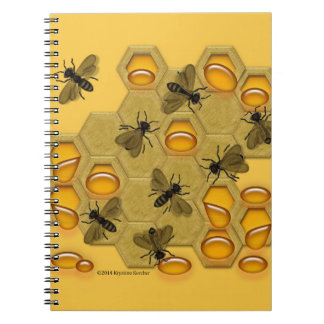 Honeybees and Honeycomb on Yellow Spiral Notebook