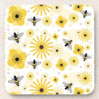 Honeybees & Flowers Cork Coaster