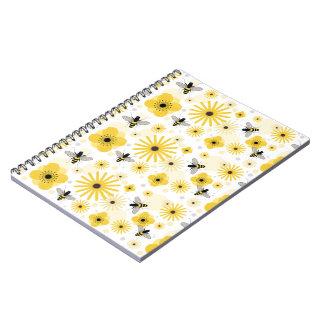 Honeybees Flowers & Polka Dots Notebook