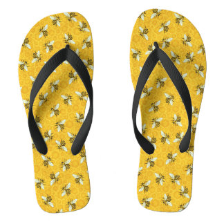 Honeybees Honeycomb Bumble Bee Hive Pattern Thongs