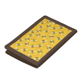 Honeybees Honeycomb Bumble Bee Hive Pattern Tri-fold Wallets