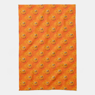honeybees on orange flowers towel