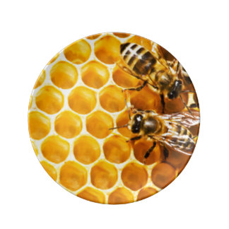 Honeycomb and Bees Pattern Design Plate