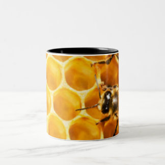 Honeycomb and Bees Pattern Design Two-Tone Coffee Mug