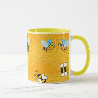 Honeycomb and Cartoon Bee Ringer Mugs