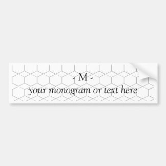 Honeycomb and diamond shape, Monogram / Initial Bumper Sticker