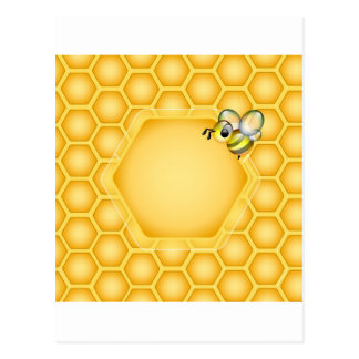 Honeycomb background with a cute honeybee postcard