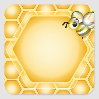 Honeycomb background with a cute honeybee square sticker