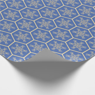 Honeycomb drawing pattern with snowflakes wrapping paper