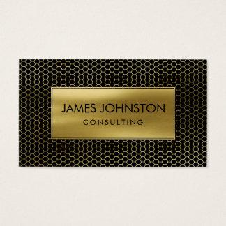 Honeycomb Geometrical pattern  Gold on Black Business Card
