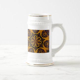 Honeycomb Gold Trim Stein Coffee Mugs