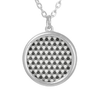 Honeycomb pattern silver plated necklace