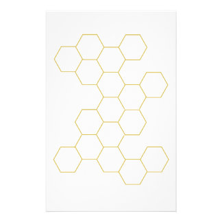 Honeycomb simplified pattern design, color gold stationery