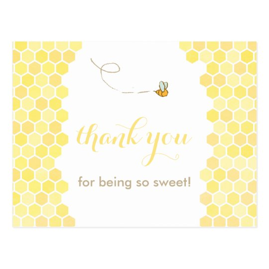 honeycomb thank you card, bee thank you, honey postcard
