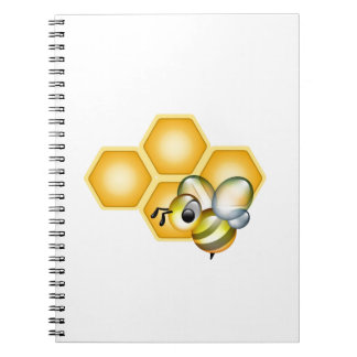 Honeycomb with a cute honeybee notebooks