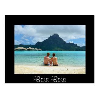 Honeymoon couple on Bora Bora black postcard