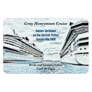 Honeymoon Cruise Ships | Personalized Cabin Marker Rectangular Photo Magnet