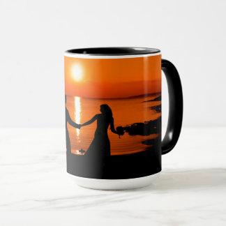 Honeymoon sunset mug