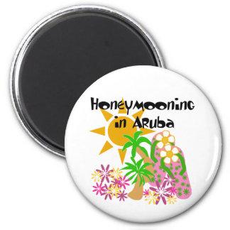 Honeymooning in Aruba 6 Cm Round Magnet