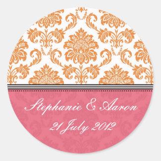 Honeysuckle and Tangerine Damask Wedding Sticker
