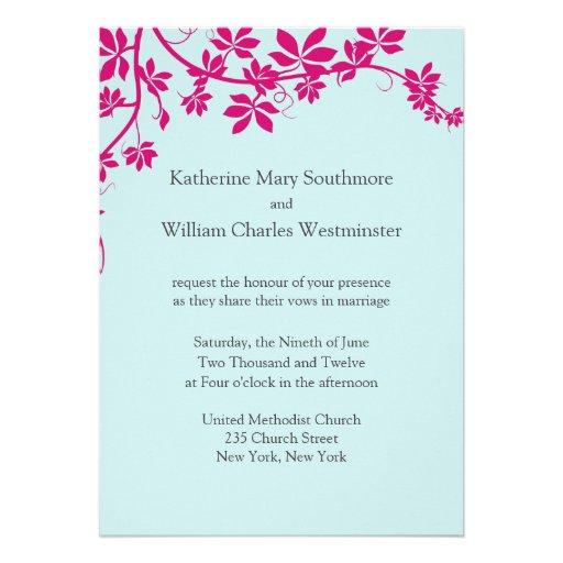 Honeysuckle and Tropical Blue Wedding Invitations