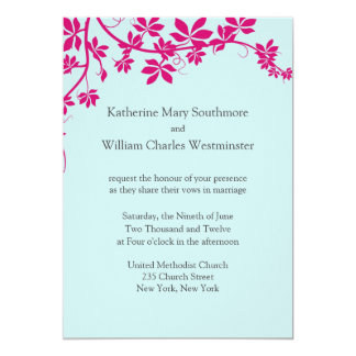 Honeysuckle and Tropical Blue Wedding Invitations