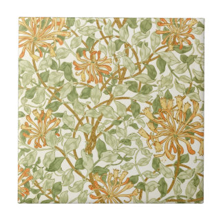 Honeysuckle by William Morris Small Square Tile