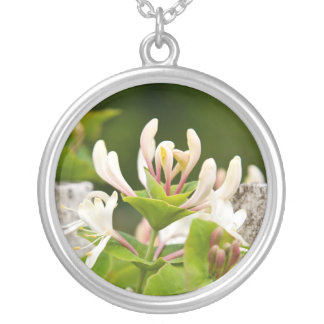 Honeysuckle floral photo silver necklace