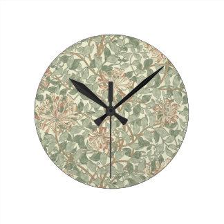Honeysuckle Floral Wallpaper William Morris Round Clock