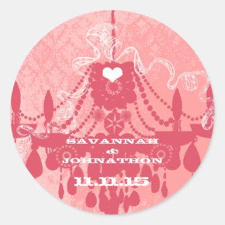 honeysuckle Pink Choose Color Vintage Chandelier Round Sticker