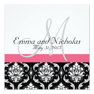 Honeysuckle Pink Monogram Wedding Invitation