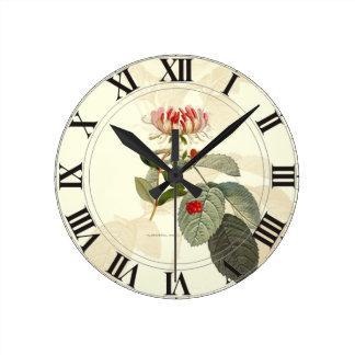 Honeysuckle Rose Botanical Clockface Round Clock