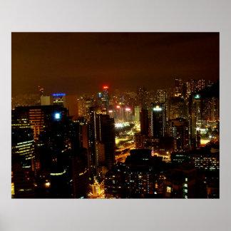 Hong Kong at Night Posters