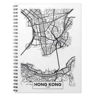 Hong Kong, China   Black and White City Map Notebook