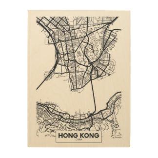 Hong Kong, China   Black and White City Map Wood Print