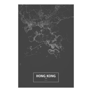 Hong Kong, China (white on black) Poster