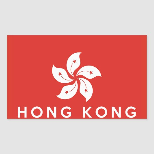 hong kong country flag symbol name text rectangular sticker ...