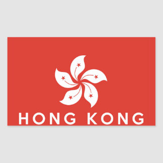 hong kong country flag symbol name text rectangular sticker