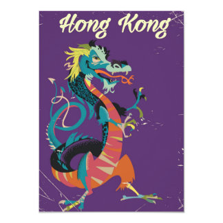 Hong Kong Dragon vintage style travel poster 11 Cm X 16 Cm Invitation Card