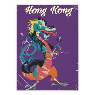 Hong Kong Dragon vintage style travel poster Card