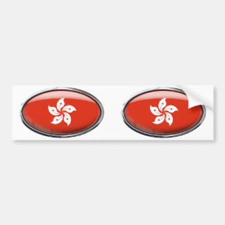 Hong Kong Flag in Glass Oval Bumper Sticker