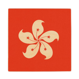 Hong Kong Flag Maple Wood Coaster