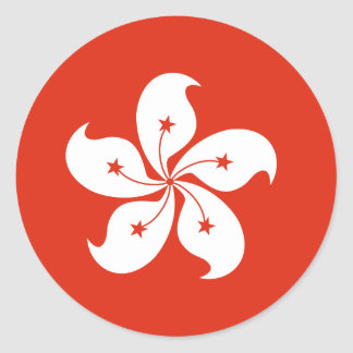 Hong Kong Flag Round Sticker
