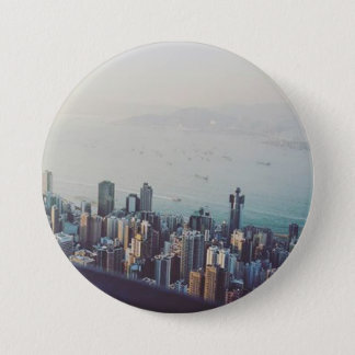Hong Kong From Above 7.5 Cm Round Badge