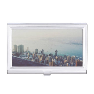 Hong Kong From Above Business Card Holder