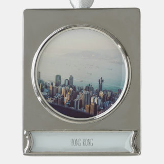 Hong Kong From Above Silver Plated Banner Ornament