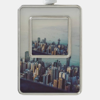 Hong Kong From Above Silver Plated Framed Ornament