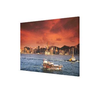 Hong Kong Harbor at Sunset Stretched Canvas Prints