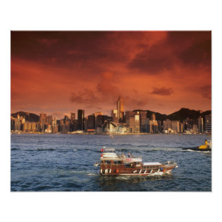 Hong Kong Harbor at Sunset Poster