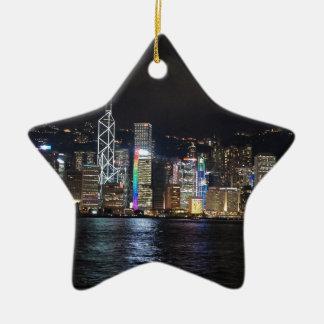 Hong Kong Harbour at night Ceramic Ornament